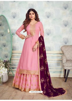 Trendy Pink Embroidered Palazzo Salwar Suit