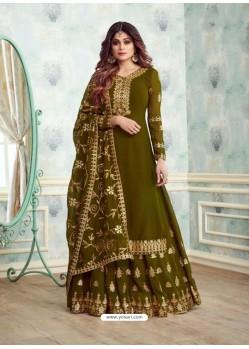 Scintillating Mehendi Embroidered Palazzo Salwar Suit