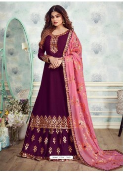 Trendy Wine Embroidered Palazzo Salwar Suit