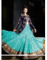 Glorious Blue Net And Jacquard Lehenga Choli