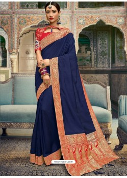 Awesome Navy Blue Silk Wedding Party Wear Sari