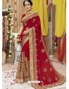 Dashing Red Georgette Bridal Sari
