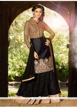Modish Black Silk And Net Lehenga Choli