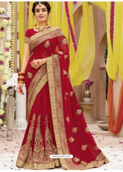 Dashing Red Georgette Bridal Sari
