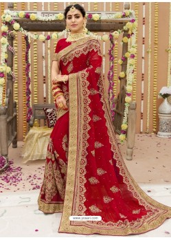 Awesome Red Georgette Bridal Sari