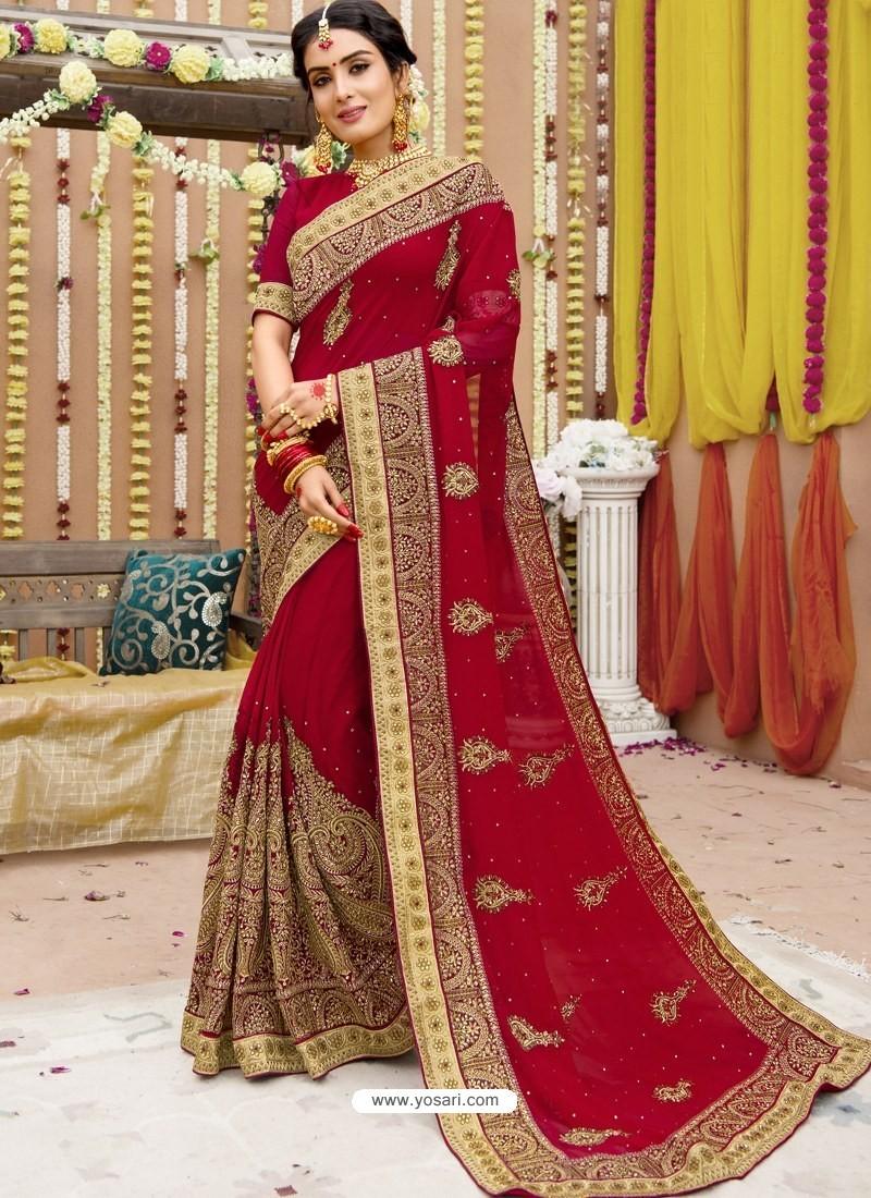 Trendy Red Georgette Bridal Sari