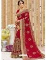 Classy Red Georgette Bridal Sari