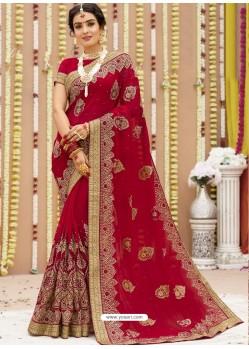 Trendy Red Georgette Bridal Sari