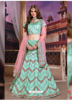 Awesome Sky Blue Heavy Embroidered Party Wear Lehenga