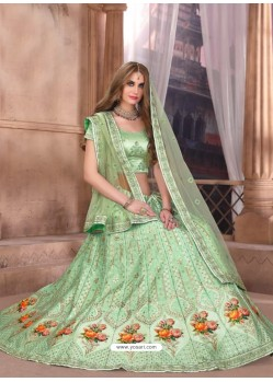 Awesome Sea Green Heavy Embroidered Party Wear Lehenga