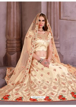 Awesome Cream Heavy Embroidered Party Wear Lehenga