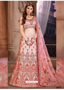 Awesome Light Red Heavy Embroidered Party Wear Lehenga