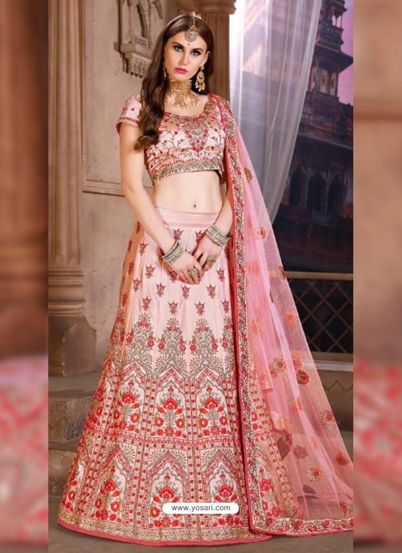 a1eb1759bf Buy Awesome Light Red Heavy Embroidered Party Wear Lehenga | Party ...
