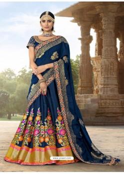 Classy Navy Blue Heavy Embroidered Wedding Lehenga Choli