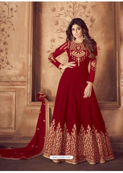 Fabulous Red Embroidered Designer Anarkali Suit