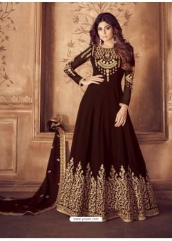 Fabulous Brown Embroidered Designer Anarkali Suit
