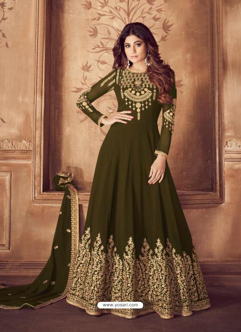 Fabulous Mehendi Embroidered Designer Anarkali Suit
