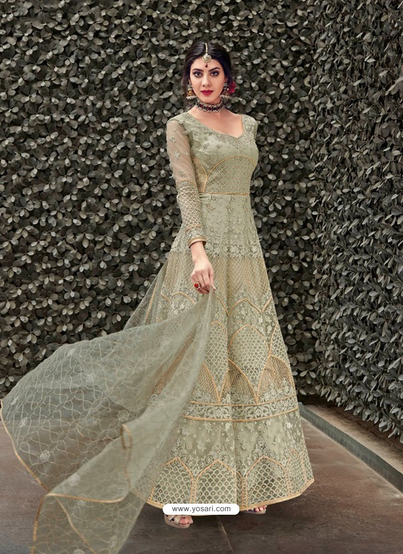 Fabulous Olive Green Embroidered Designer Anarkali Suit