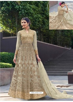 Scintillating Beige Designer Anarkali Suit