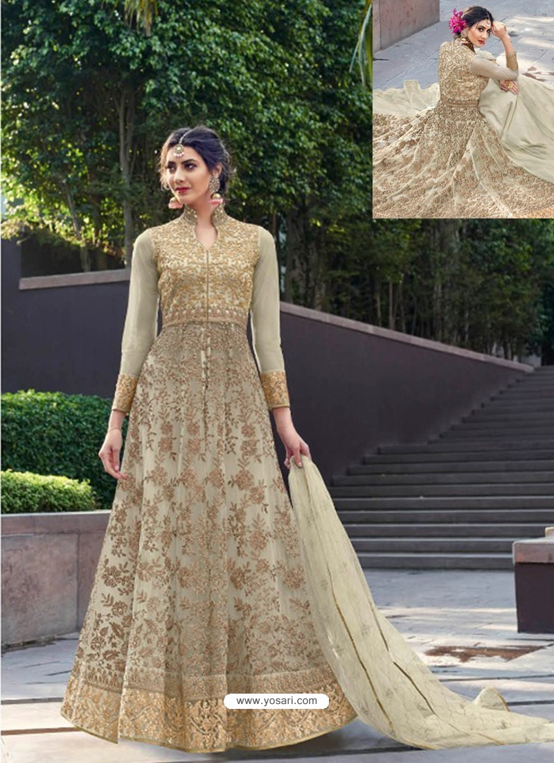 823acad767 Buy Scintillating Beige Designer Anarkali Suit   Anarkali Suits