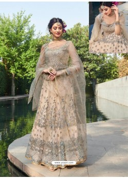 Awesome Light Beige Embroidered Designer Anarkali Suit