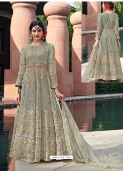 Fabulous Grey Designer Anarkali Suit