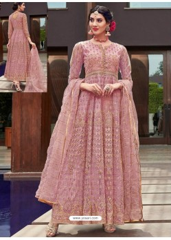 Scintillating Pink Embroidered Designer Anarkali Suit
