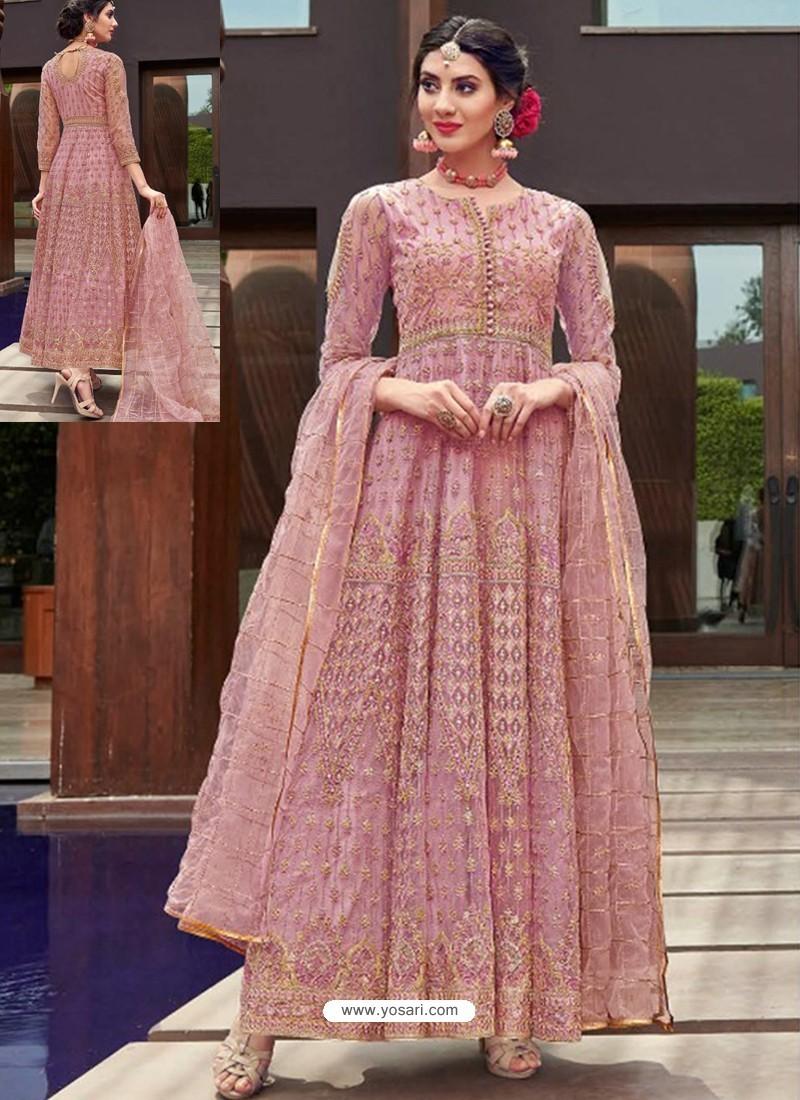 Scintillating Pink Embroidered Designer Anarkali Suit