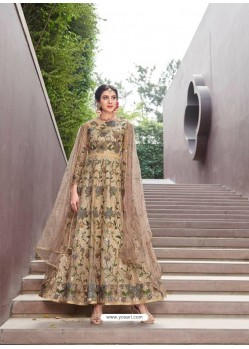 Awesome Gold Embroidered Designer Anarkali Suit