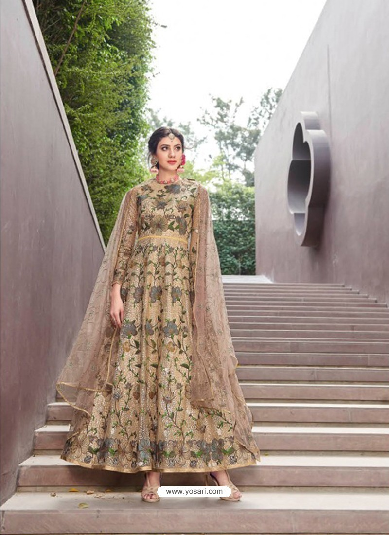 Awesome Gold Embroidered Designer Anarkali Suit
