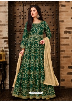 Scintillating Dark Green Embroidered Designer Anarkali Suit