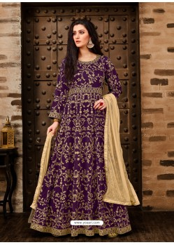 Scintillating Purple Embroidered Designer Anarkali Suit