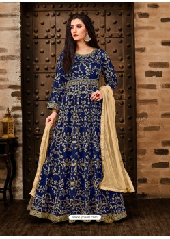 Awesome Blue Embroidered Designer Anarkali Suit