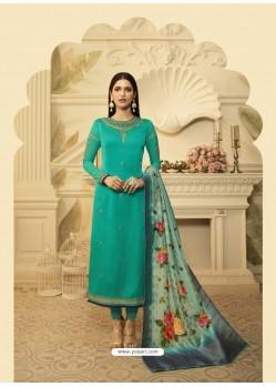 Trendy Green Embroidered Churidar Salwar Suit