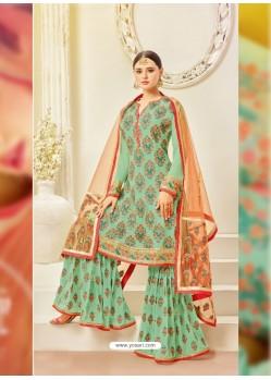 Ravishing Jade Green Embroidered Palazzo Salwar Suit