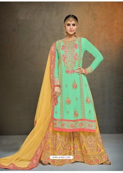 Trendy Sea Green Embroidered Palazzo Salwar Suit