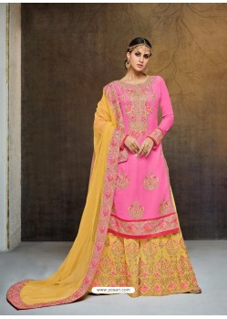 Trendy Hot Pink Embroidered Palazzo Salwar Suit