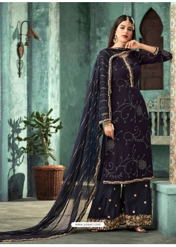 Fabulous Navy Blue Embroidered Palazzo Salwar Suit