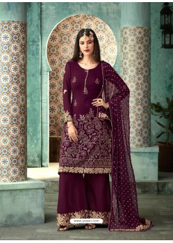 Scintillating Deep Wine Embroidered Palazzo Salwar Suit