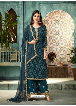 Trendy Peacock Blue Embroidered Palazzo Salwar Suit