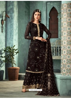 Scintillating Black Embroidered Palazzo Salwar Suit