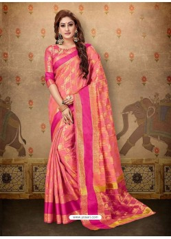 Dashing Peach Cotton Casual Wear Sari