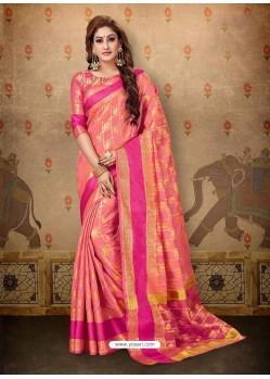 Dashing Peach Cotton Casual Wear Sari