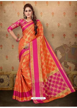 Classy Orange Cotton Casual Wear Sari