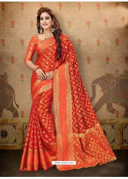 Awesome Red Cotton Casual Wear Sari