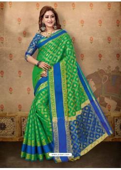 Trendy Green Cotton Casual Wear Sari