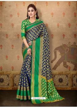 Classy Navy Blue Cotton Casual Wear Sari
