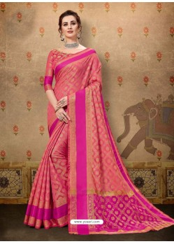 Dashing Hot Pink Cotton Casual Wear Sari