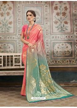 Classy Peach Designer Kanjeevaram Silk Sari