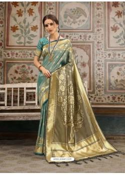 Awesome Teal Designer Kanjeevaram Silk Sari